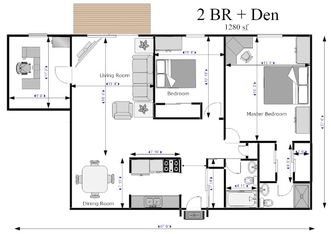 2BR+Den With Dimensions 2012